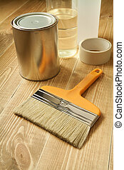 Wood working - Painting tools on wooden floor.