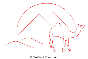 Egypt: camel and pyramids - Vector illustration of egypt...