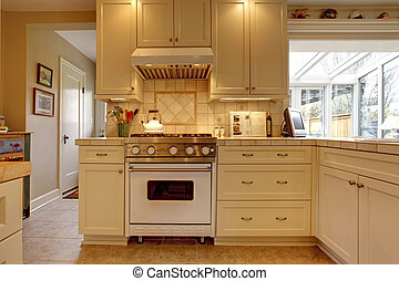 Yellow white kitchen with large stove