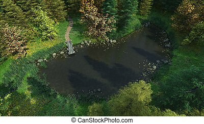 Aerial View of a Woodland Lake - Aerial view of a small...