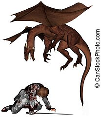 Wounded Knight and Dragon - Wounded knight in bloodstained...