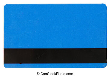 blue credit card isolated over the white background