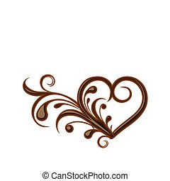 Chocolate heart symbol for valentine design element