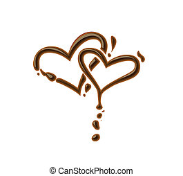 Chocolate heart symbol for valentine design element.