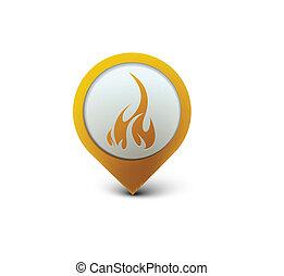 fire web icon - vector glossy fire web icon design element.