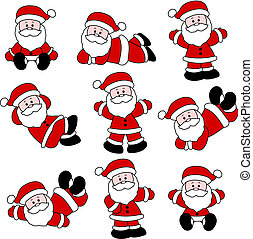 9 Festive Cute Santa Set for Christ - Set of 9 illustrations...