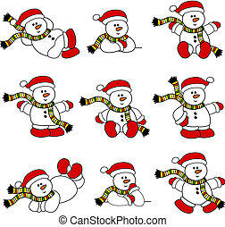 Cute Christmas Snowman Collection - Set of 9 illustrations...