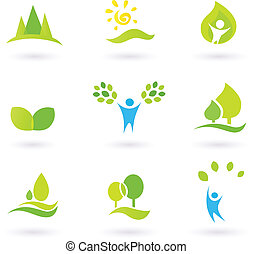 Tree, leaves and ecology vector icon set blue and green -...