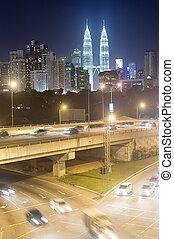 Kuala Lumpur - Night traffic in Kuala Lumpur at night...