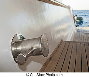 Capstan on a motor yacht - Mooring capstan on a large wooden...
