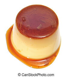 creme caramel - a creme caramel on a white background