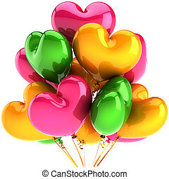 Party balloons in form as hearts