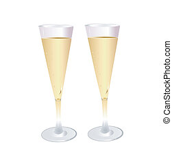 Vector. Two glasses of champagne