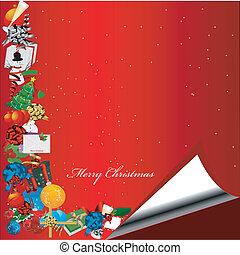 Red Christmas background with gift