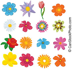 set of flower graphics vector