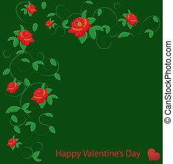 valentine vector with red rose
