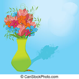 pattern of vases with flowers and ladybug