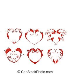 Vector illustration of collection of hearts