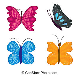 Set of for most beautiful butterflies, vector illustration