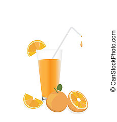 Fresh Orange juice and fruit, isolated on white background