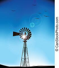Windmill, vector illustration