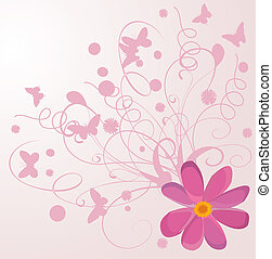 Background with flowers and with butterfly
