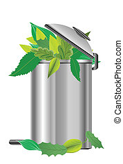 recycling bin with green leaves