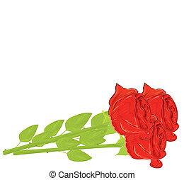 Vector realistic red rose isolated on white background.