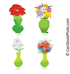 set of four flower vase vector illustration