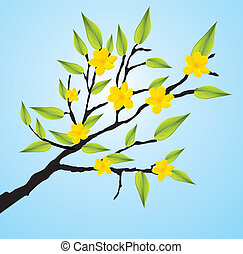Green Tree Branch Icon with beautifull yellow flowers