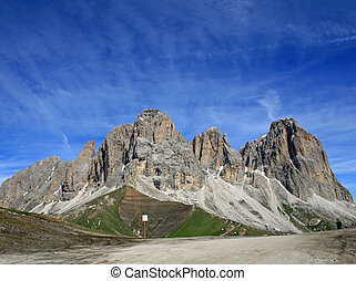 Sasso lungo mountain landscape of the Dolomites of Val di...