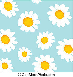 vector floral light blue pattern with chamomiles