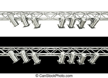 Stage lighting - Stage spotlights isolated over white and...
