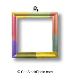 Wooden multicolored framework for portraiture on the white...