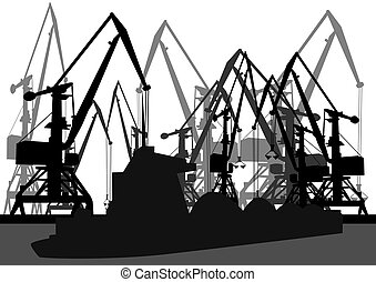 Port cranes and barge - Port cranes and loaded barge. Black...
