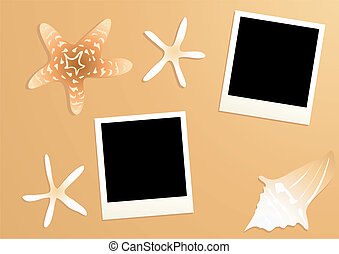 beach-concept - Vector illustration of empty photos with...