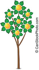 Abstract lemon tree. Illustration on white background