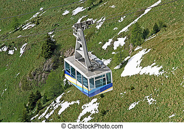 cable car or funicular railway to transport tourists on the...