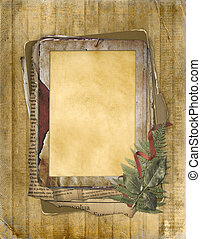 Old grunge frame on the abstract background with bunch