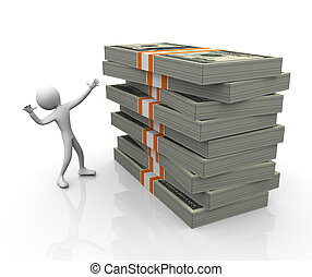 3d man with stack of dollar packs - Happy 3d man with stack...