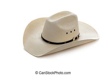 vaquero, sombrero, blanco