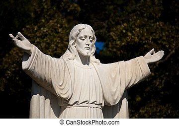 Statue of Jesus with outstretched