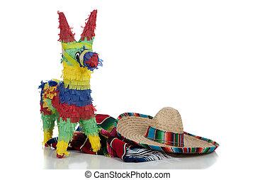 Serape, sombrero, piñata, blanco, Plano de fondo,...