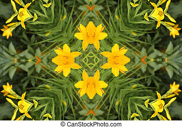 abstract background with yellow lilies
