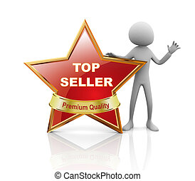 Star best seller  - 3d man presentation of best seller medal