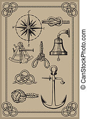 Nautical elements on vintage background. drawing woodcut...