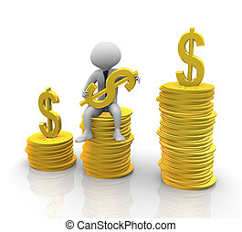 3d man sitting on stack of coins