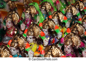 Goddess Laxmi Background - A background of small clay idols...