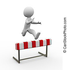 3d hurdle jump - 3d man jumping over the hurdle