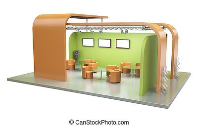Tradeshow stand - Empty trade event stand. 3D render.